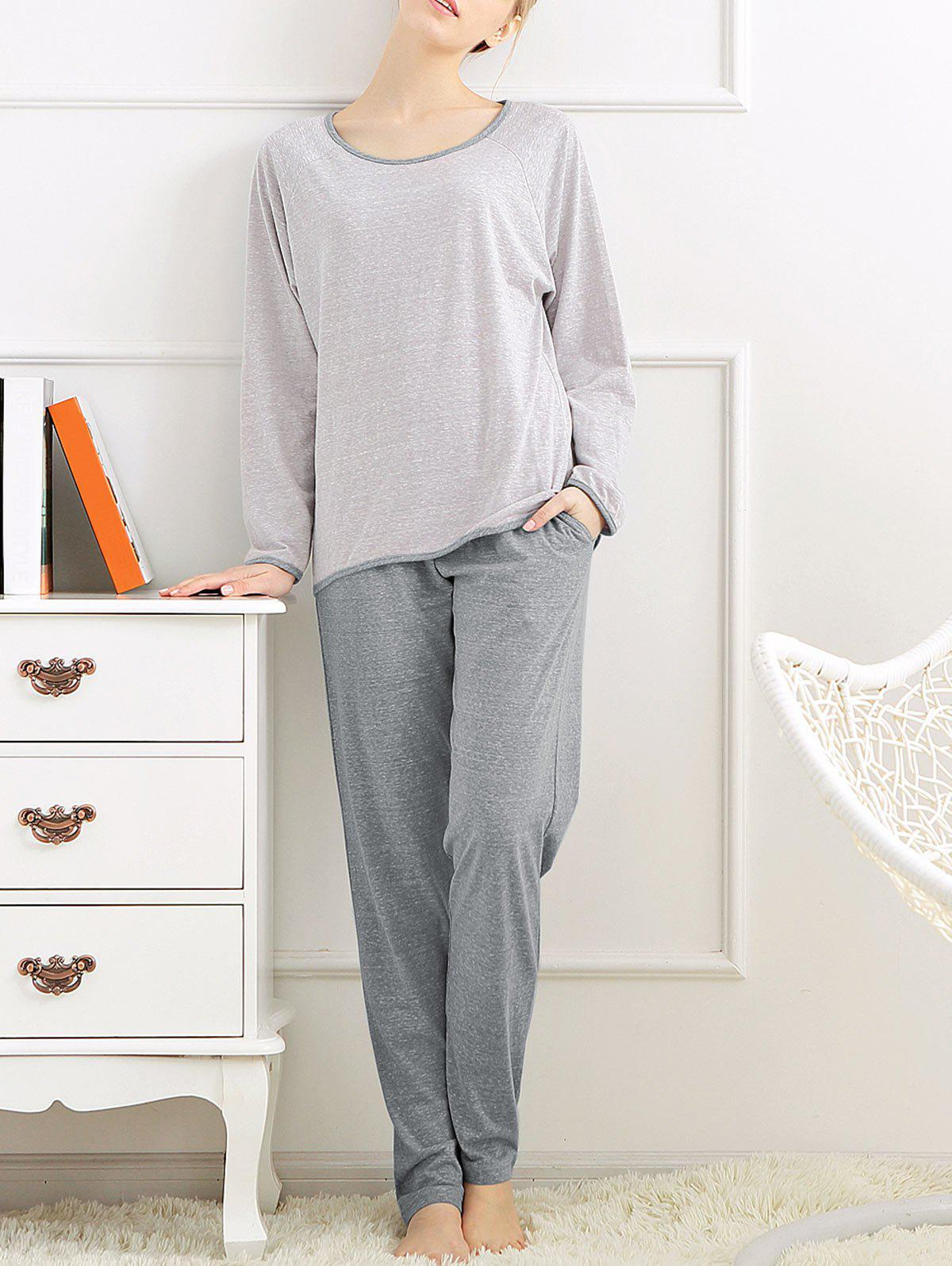 Long Sleeves Pajamas T-shirt and Pants - LIGHT GRAY M