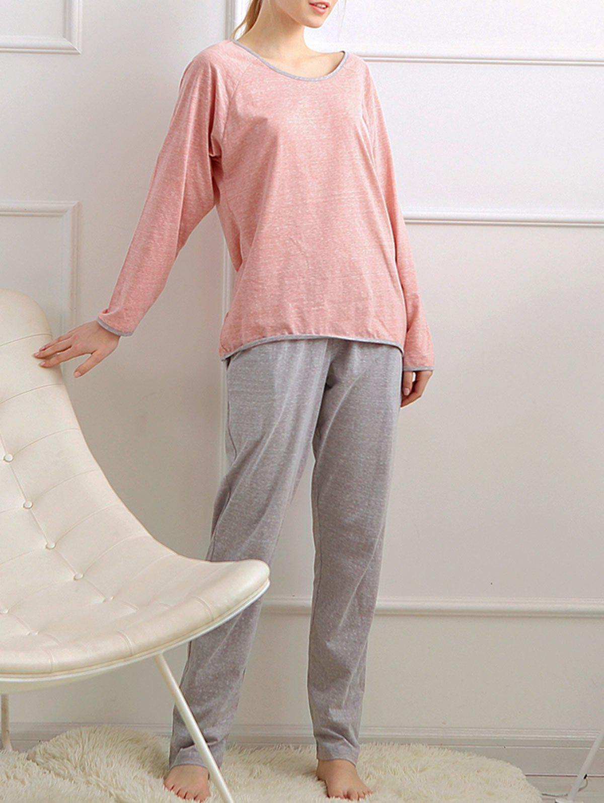 Long Sleeves Pajamas T-shirt and Pants - ORANGEPINK L