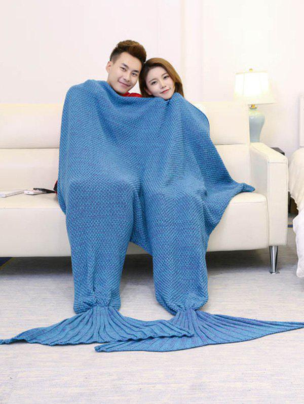 Knitted Throw Wrap Mermaid Blanket For Lovers - LAKE BLUE 180*155CM