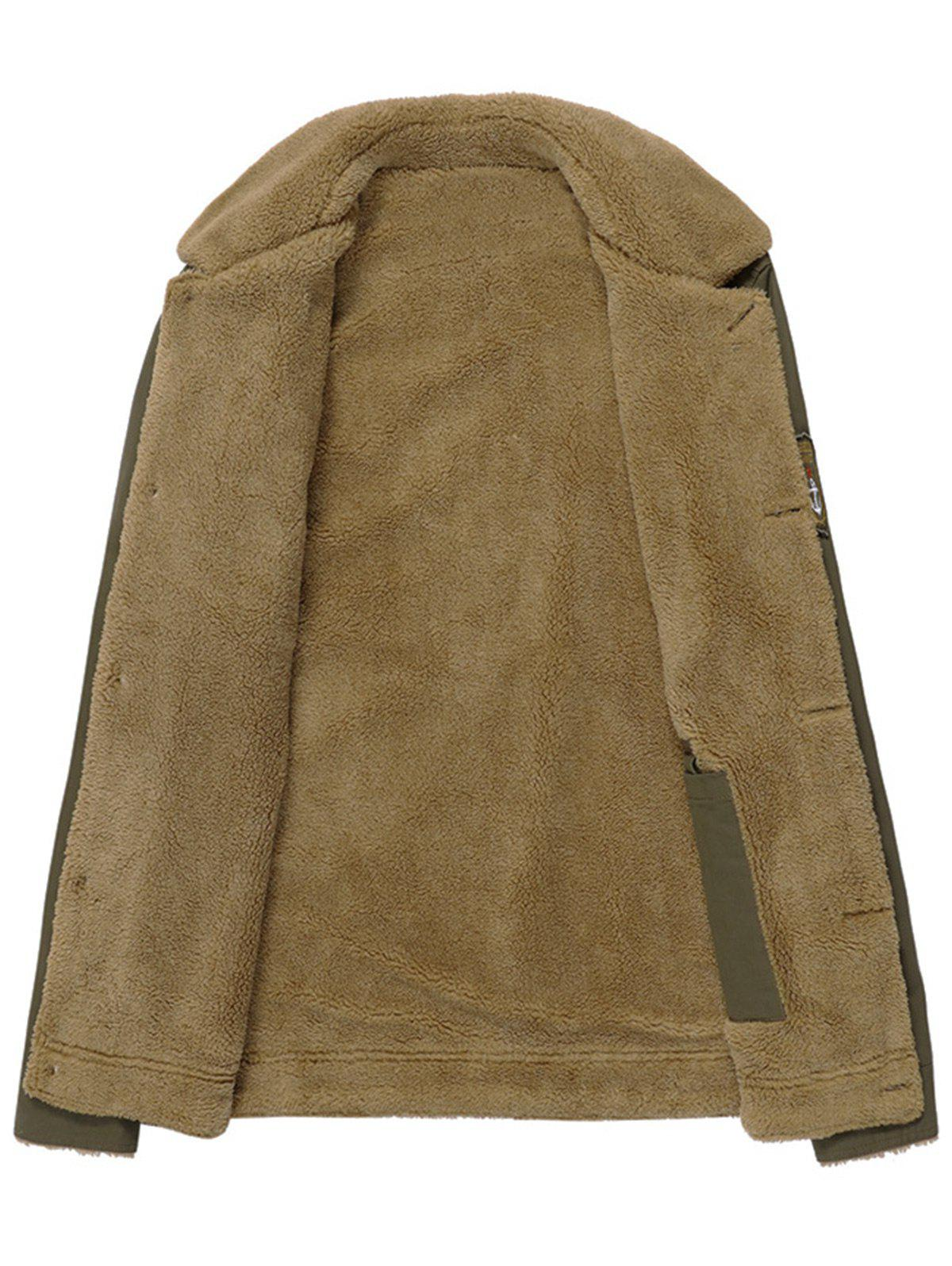 Button Up Patched Faux Shearling Jacket - KHAKI L