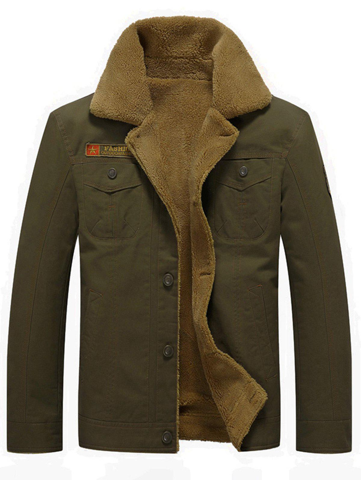 Button Up Patched Faux Shearling Jacket - ARMY GREEN L