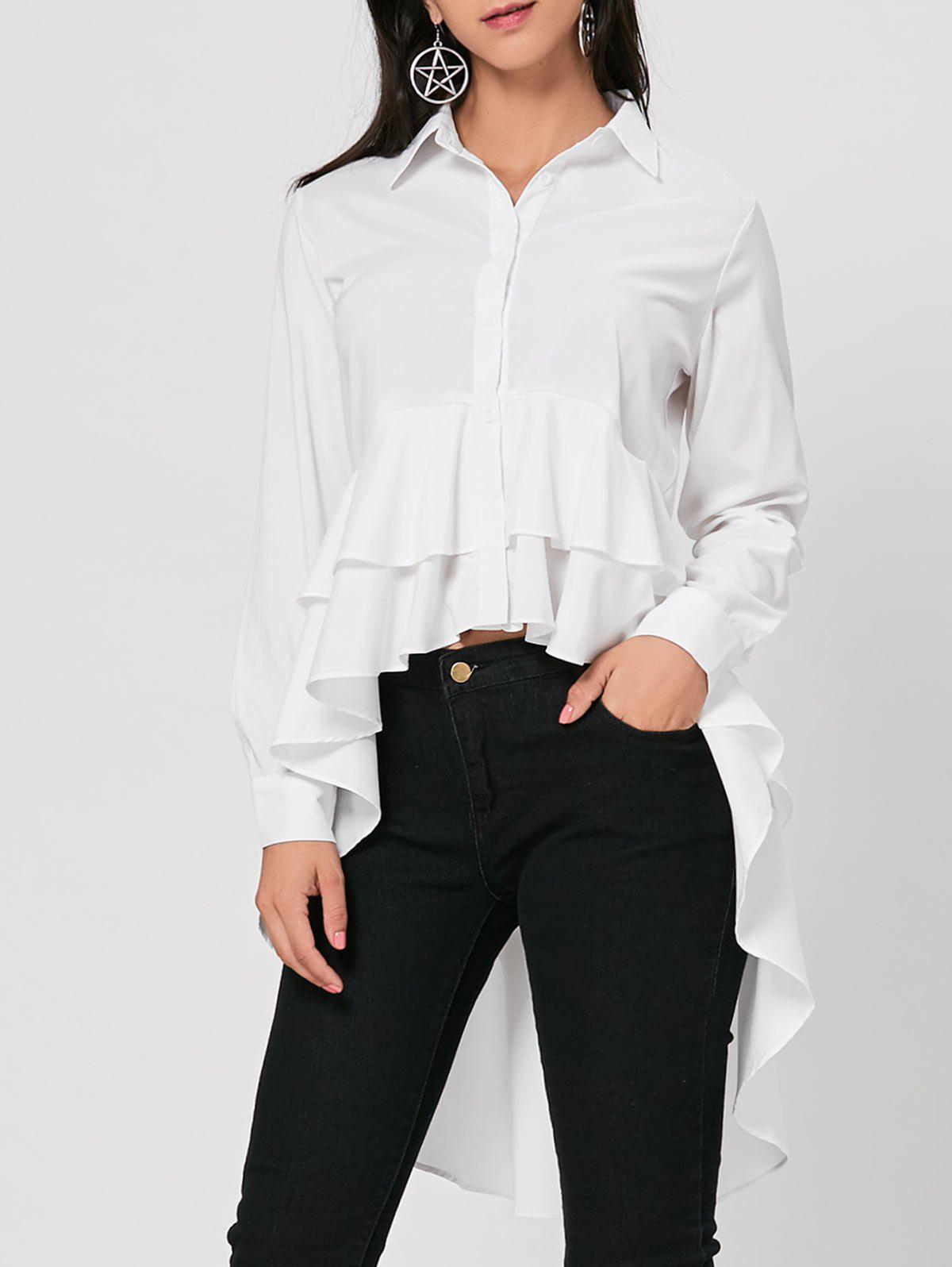 High Low Tunic Dovetail Blouse - WHITE XL