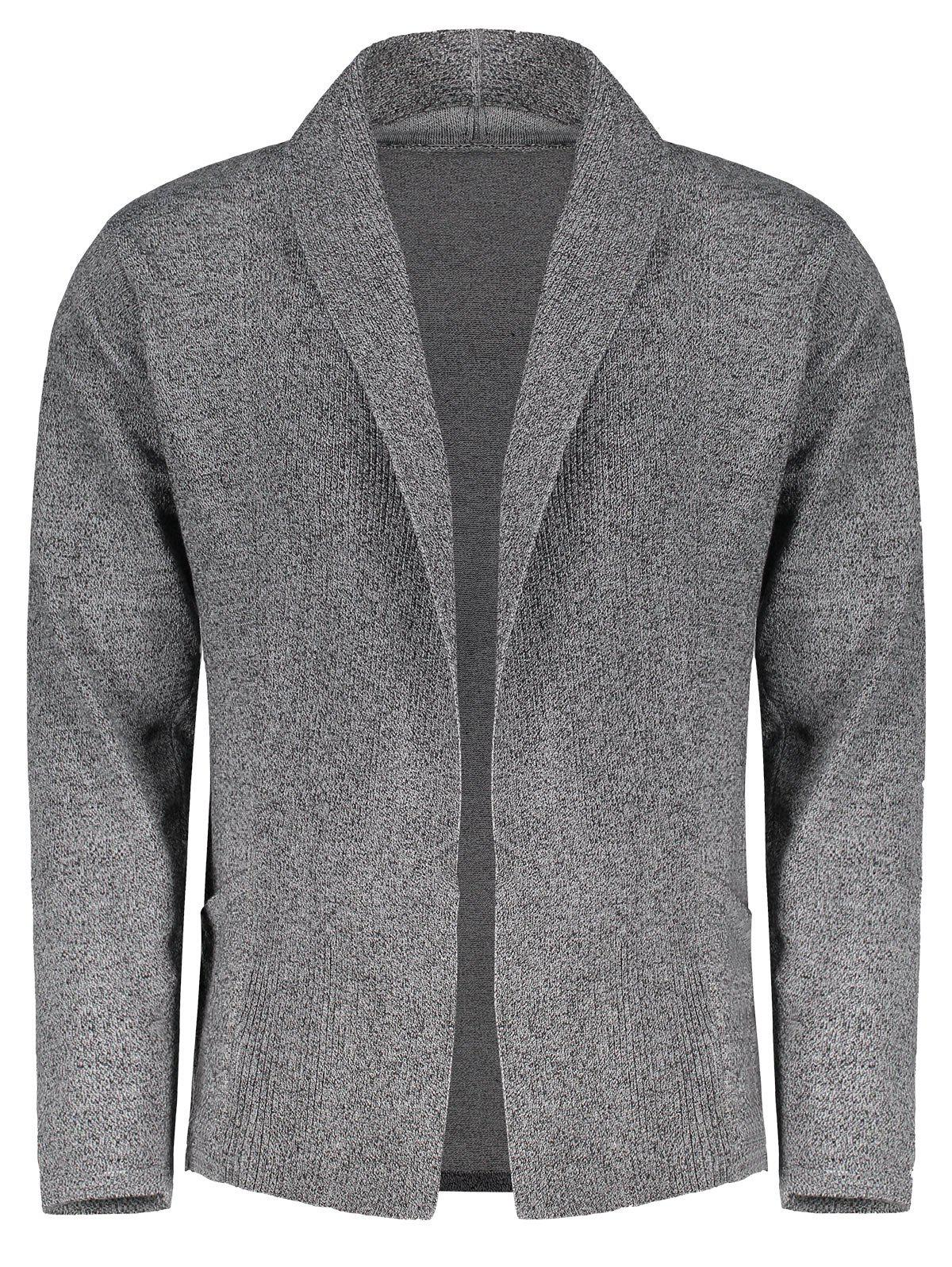 2018 Shawl Collar Open Front Mens Cardigan FEATHER GRAY M In ...