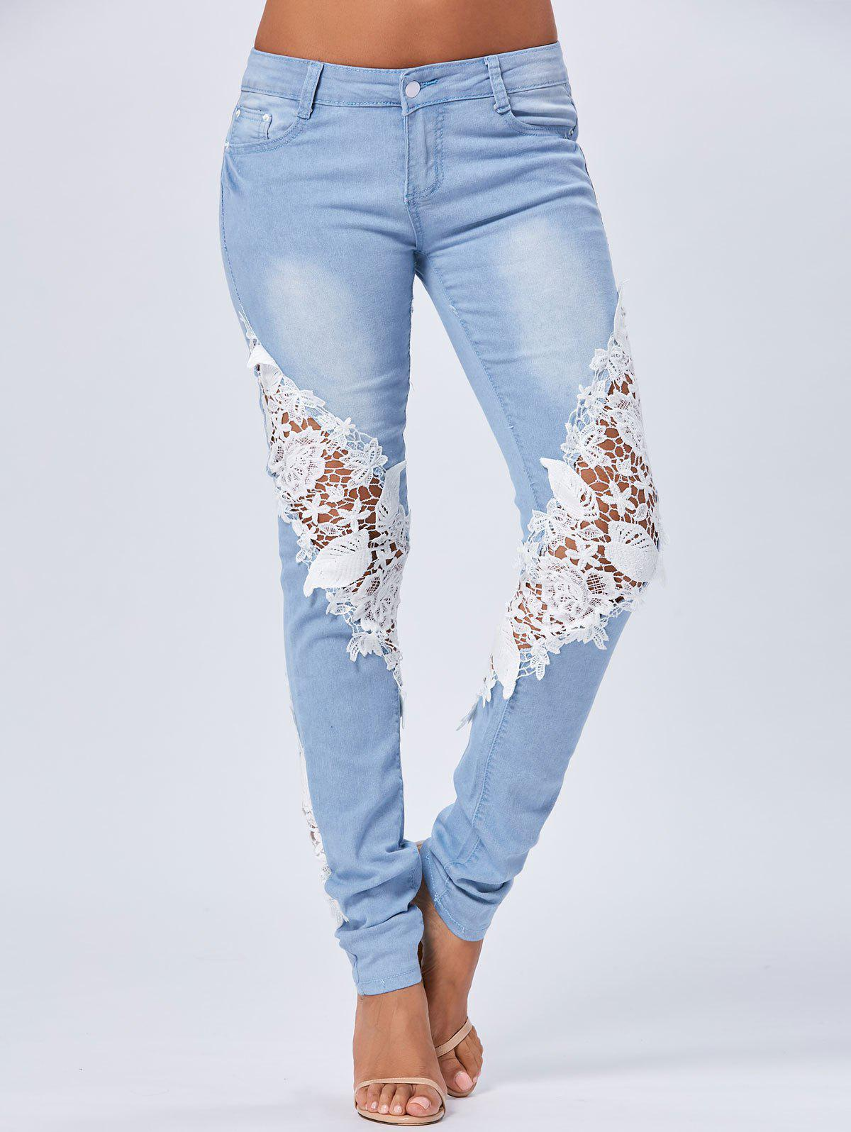 Lace Panel Staright Light Wash Jeans - BLUE S