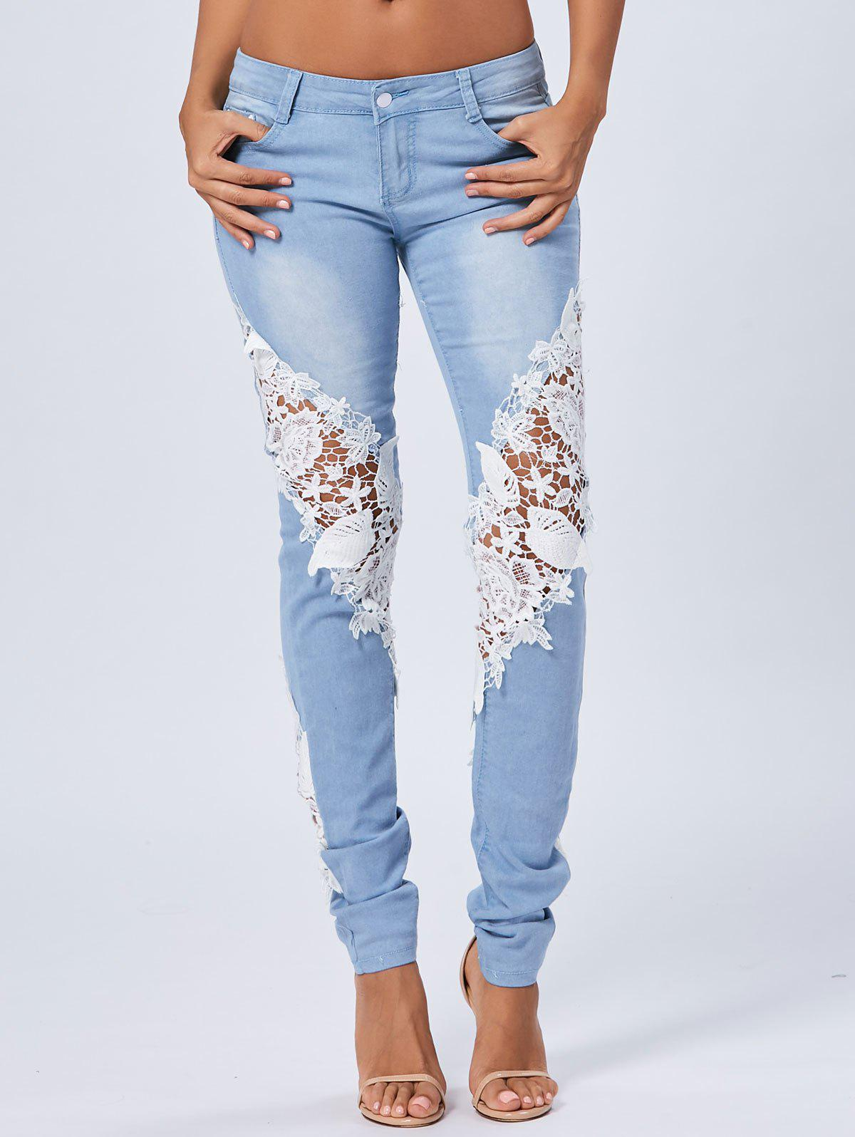Lace Panel Staright Light Wash Jeans - Bleu M
