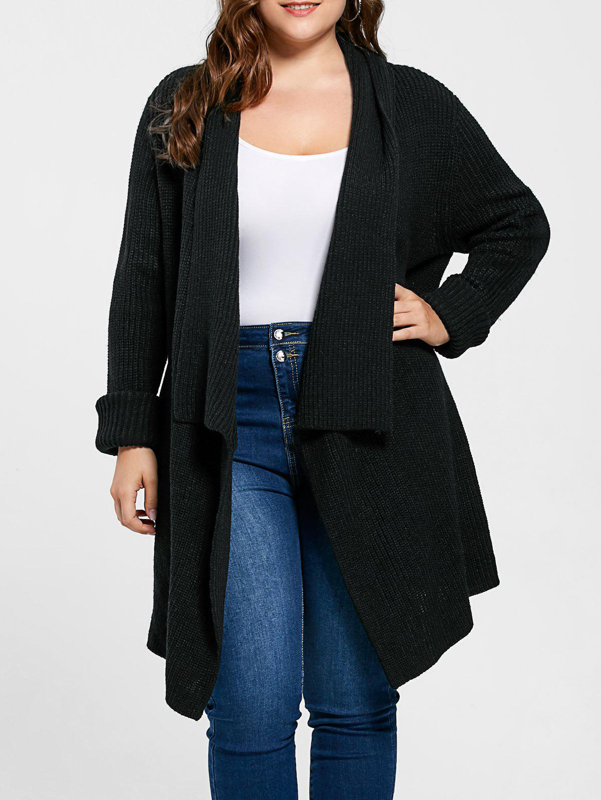 Plus Size Ribbed Drape Cardigan - BLACK XL