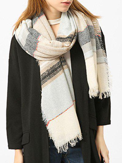 Fringed Brim Checked Cotton Blended Shawl Scarf - PALOMINO