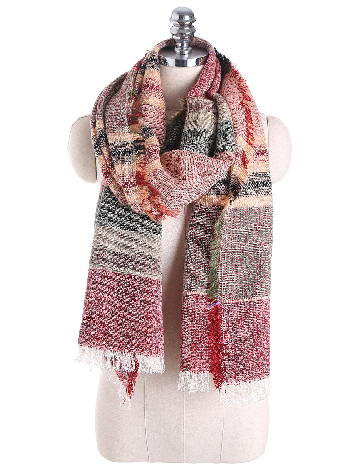 Fringed Brim Checked Cotton Blended Shawl Scarf - RED