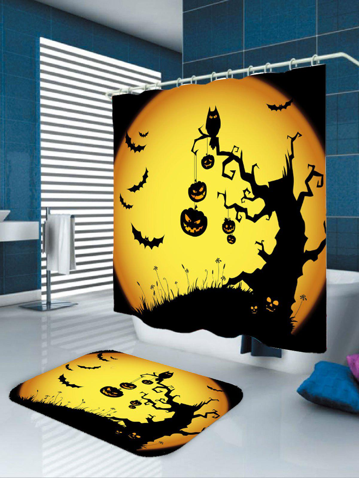 Waterproof Halloween Pumpkin Withered Tree Print Shower Curtain - YELLOW/BLACK W79 INCH * L71 INCH