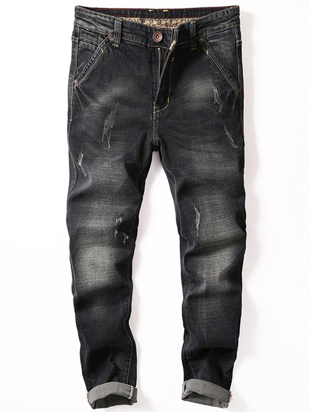 Scratch Straight Slim Fit Jeans - Noir 36