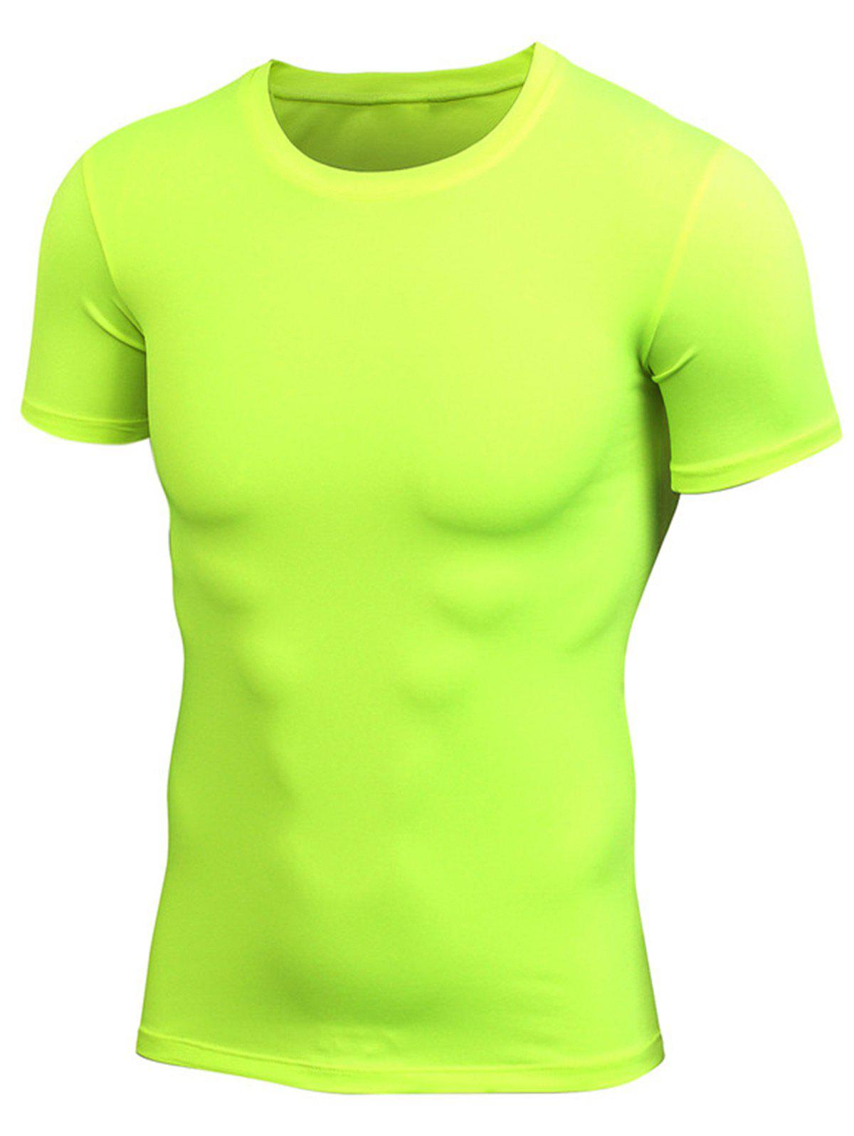Stretchy Fitted Short Sleeve Gym T-shirt - NEON GREEN 2XL