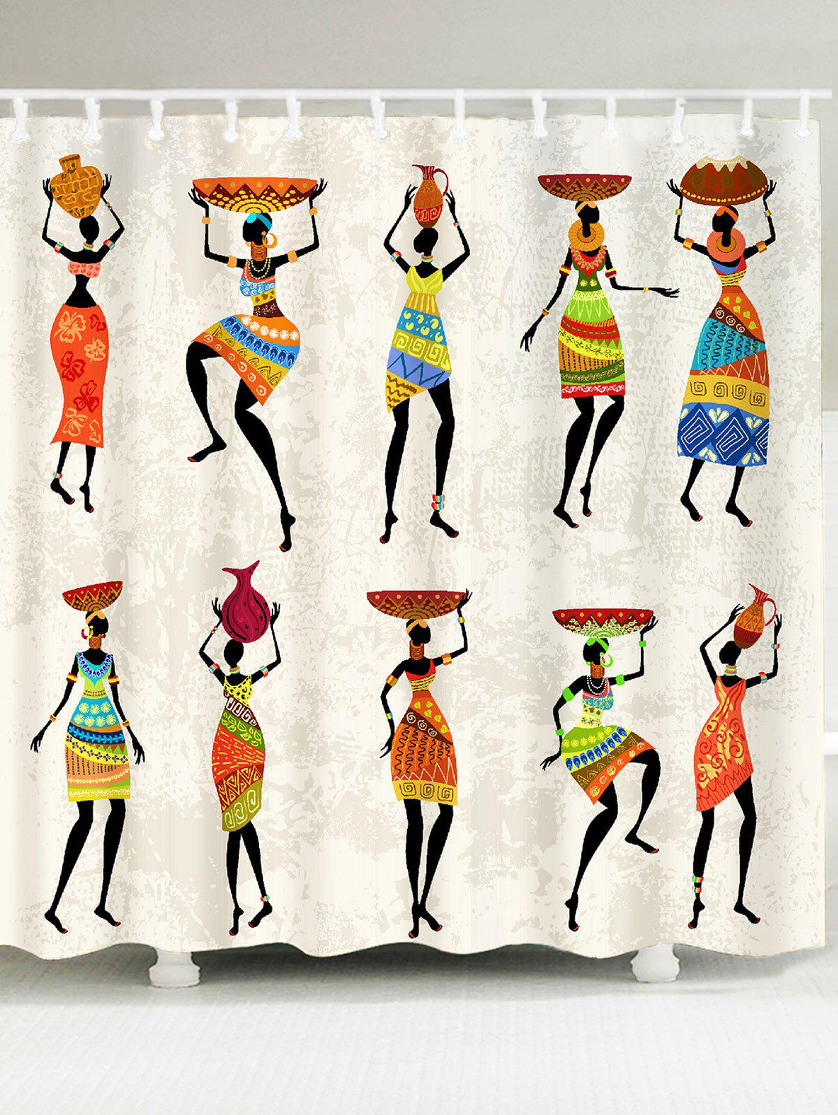 Waterproof African Tribal Style Lady Pattern Shower Curtain - COLORFUL W71 INCH * L71 INCH