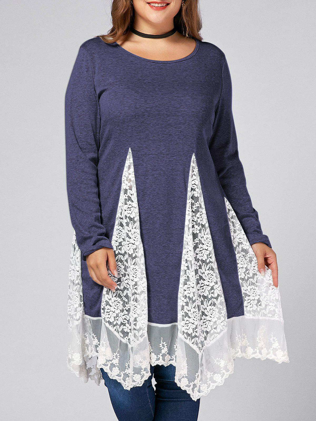 Plus Size Lace Trim Long Sleeve Swing T-shirts - BLUISH VIOLET 3XL