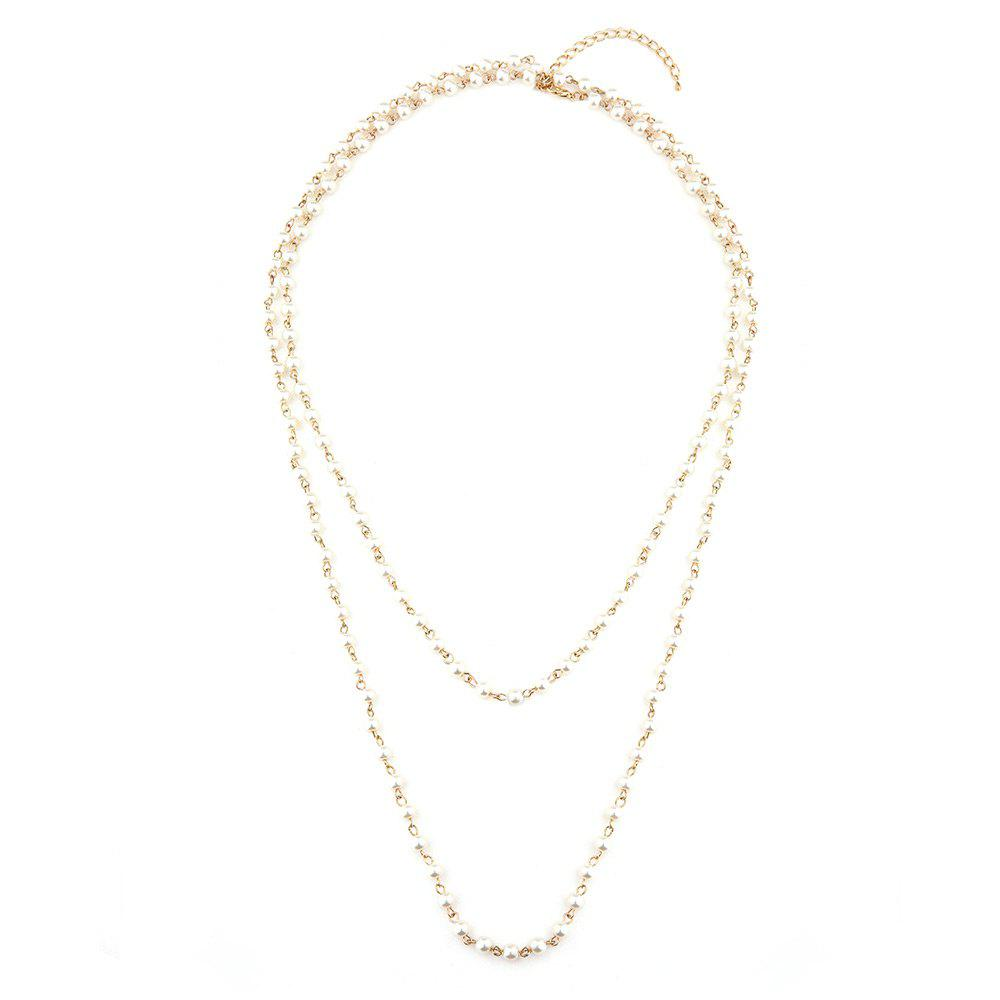 Statement Faux Pearl Sweater Chain - GOLDEN