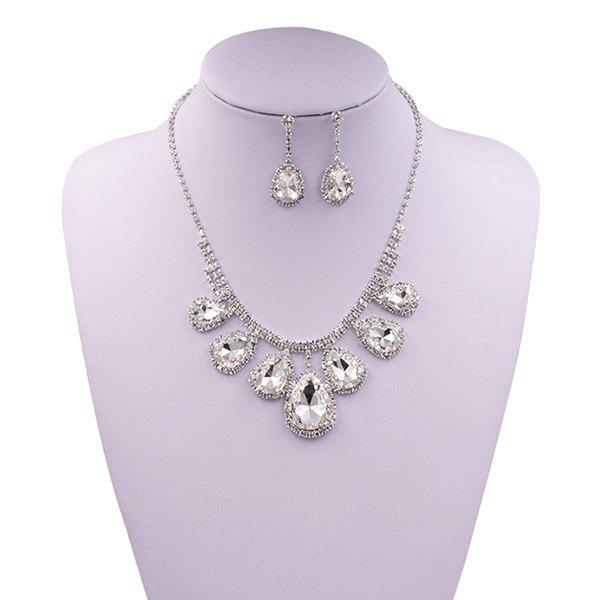 Faux Gem Rhinestoned Teardrop Wedding Jewelry Set rhinestoned hollowed wedding jewelry set