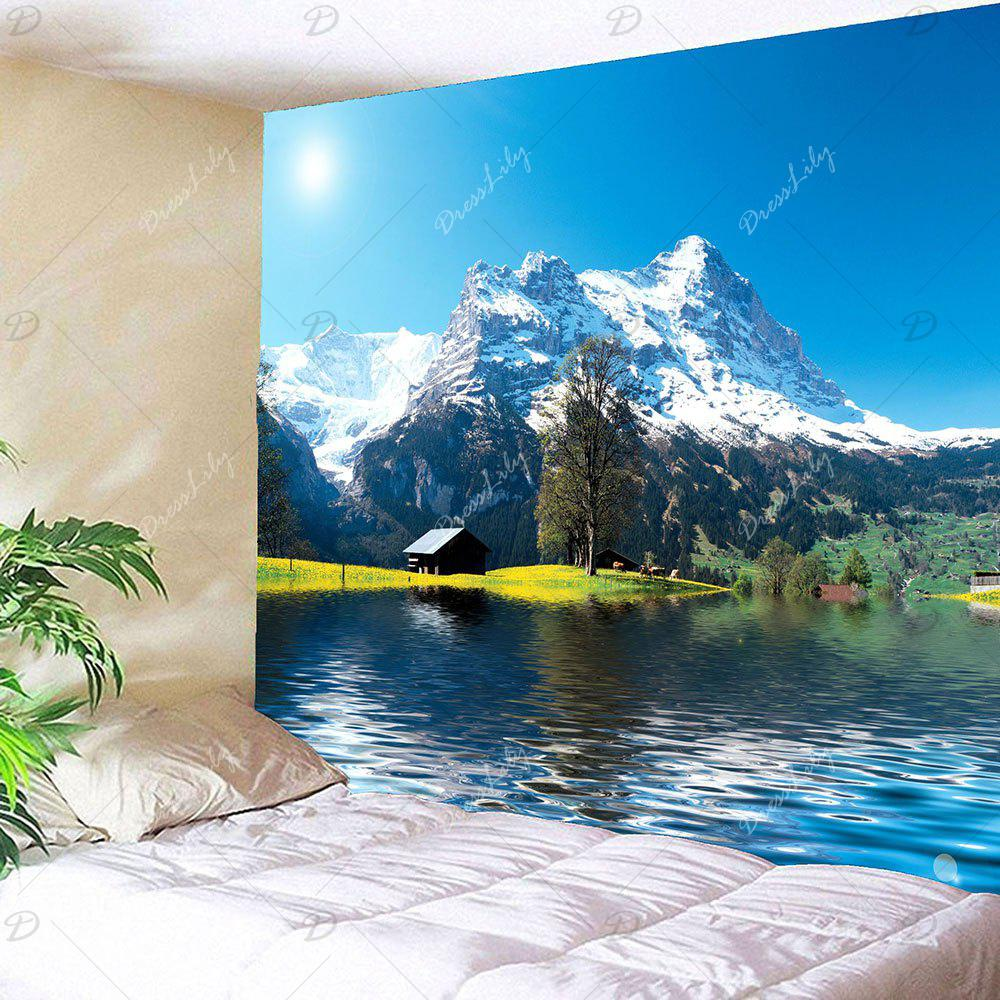 Waterproof Snow Mountains Lake Cottage Hanging Tapestry - GREEN W79 INCH * L79 INCH