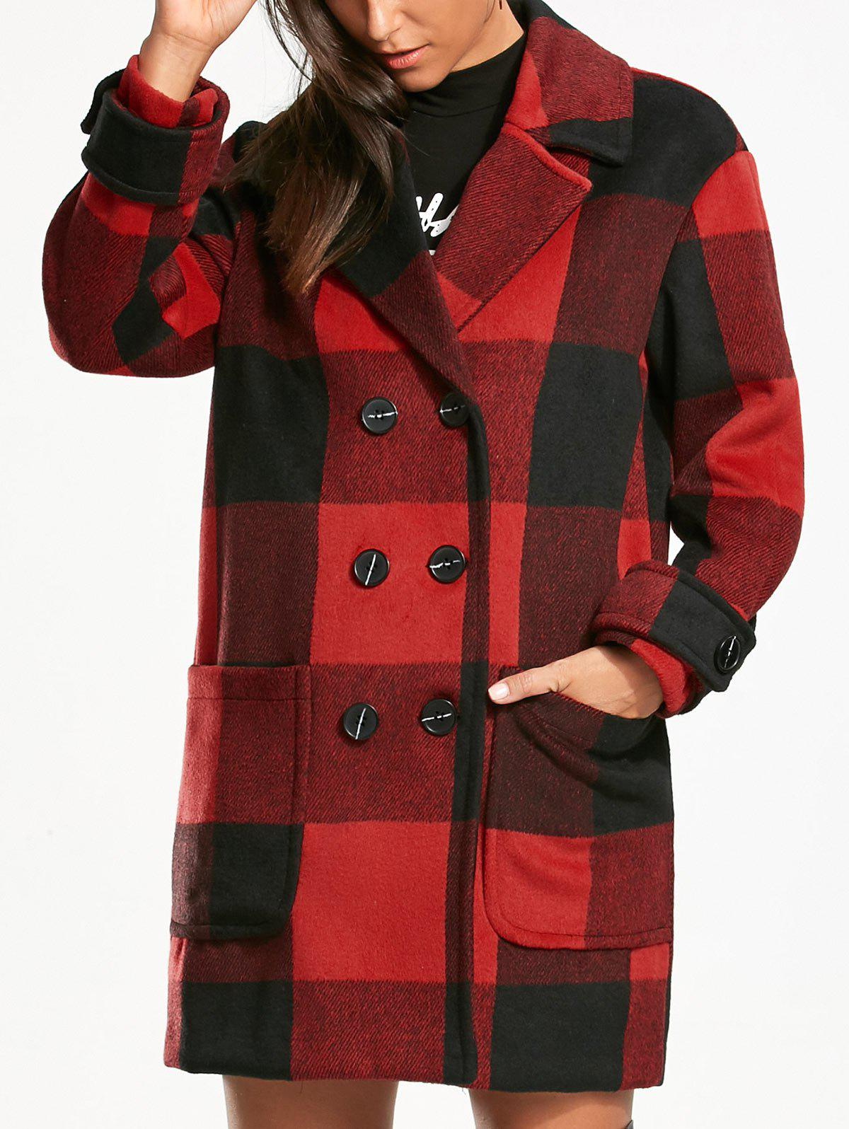 Tartan Double Breasted Pea Coat - RED/BLACK 2XL