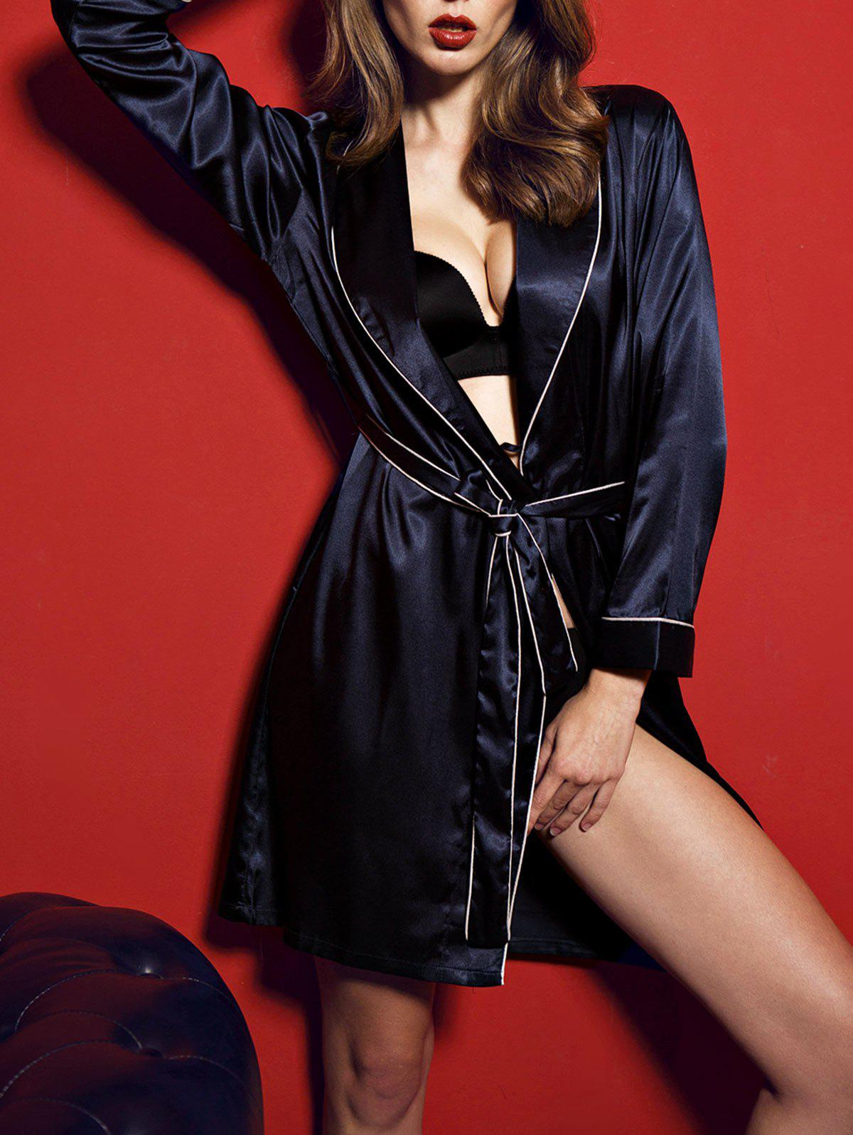 Satin Long Sleeve Kimono Wrap Robe - MIDNIGHT L