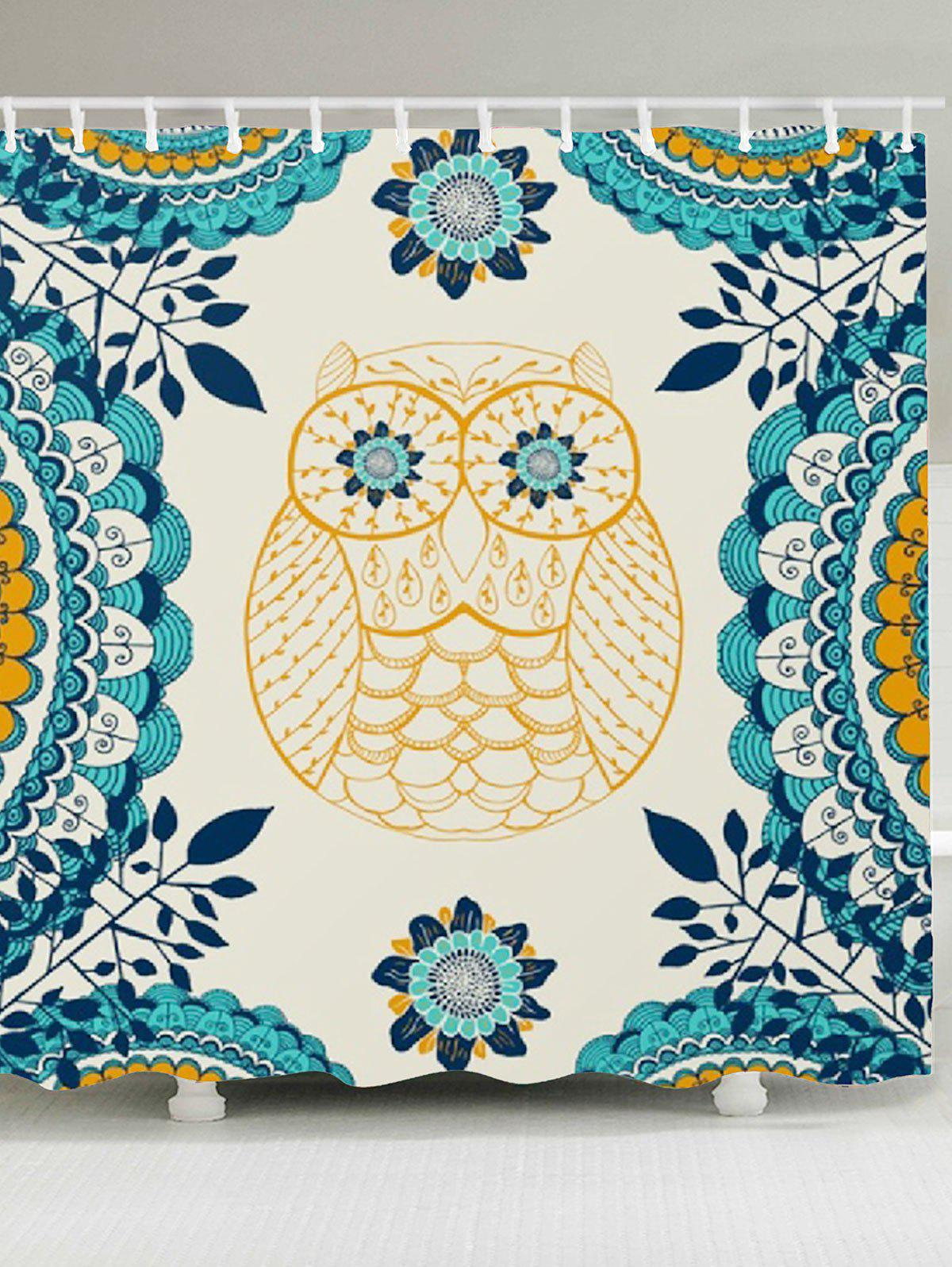 Waterproof Leaves Owl Printed Shower Curtain - COLORFUL W79 INCH * L71 INCH