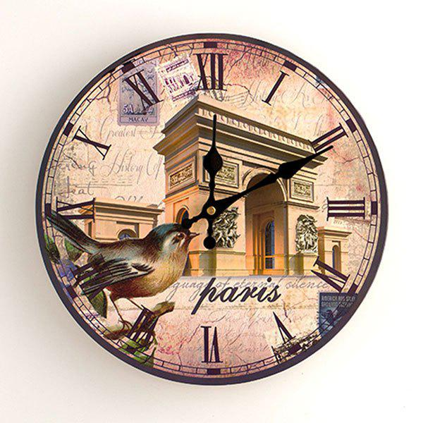 Triumphal Arch Analog Wood Round Wall Clock - ANTIQUE BROWN 30*30CM