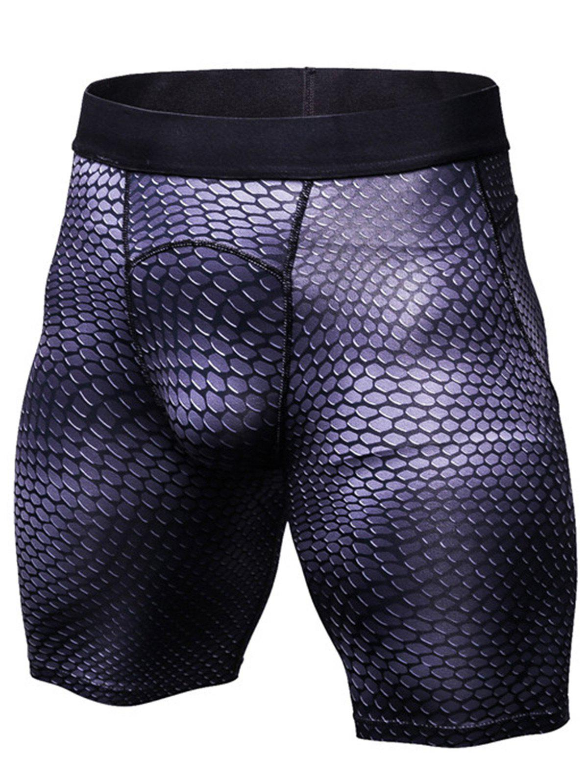 3D Geometric Print Fitted Gym Shorts - PURPLE M