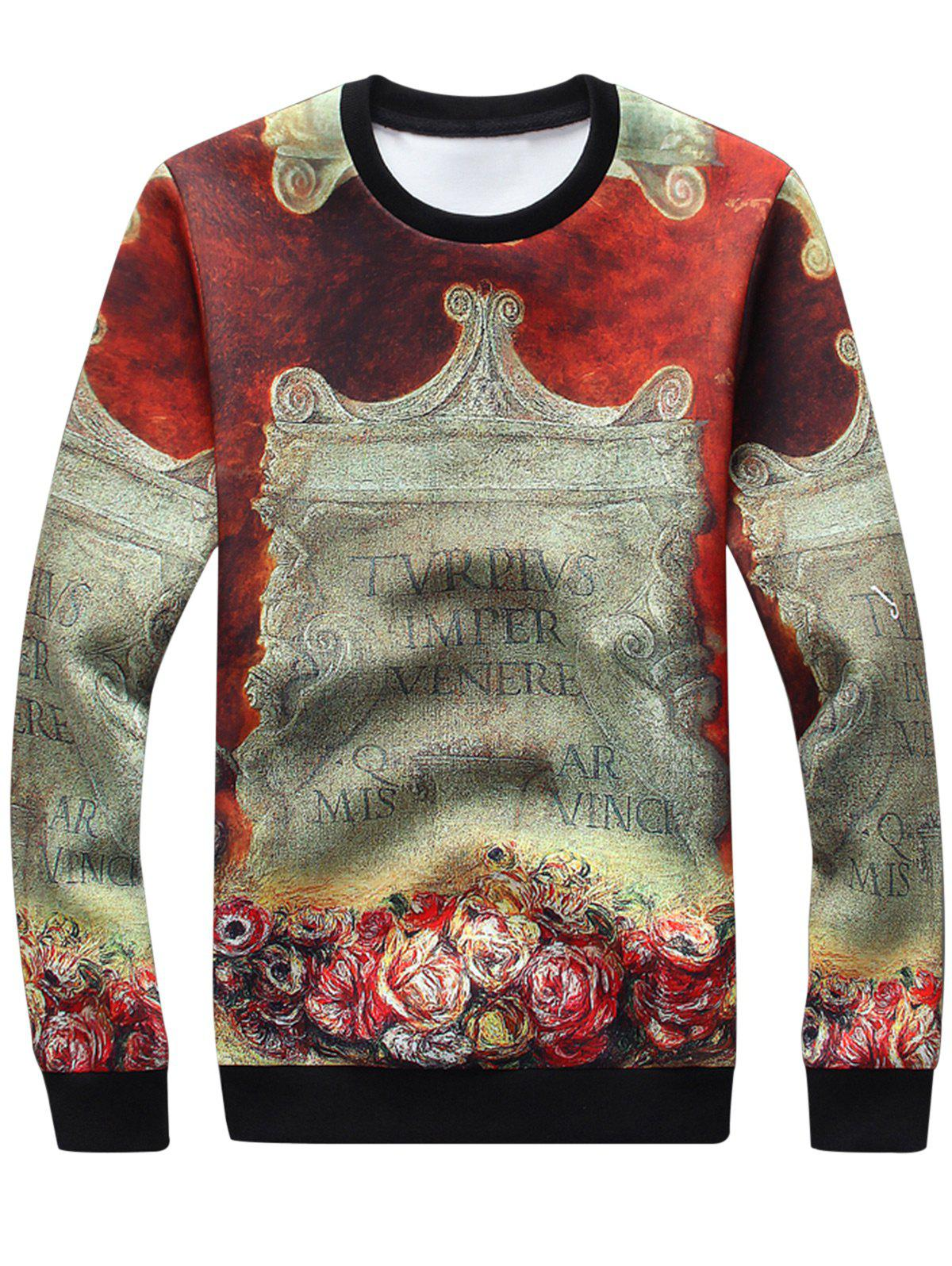 Sweatshirt à manches longues 3D Stele Graphic Print - multicolore L