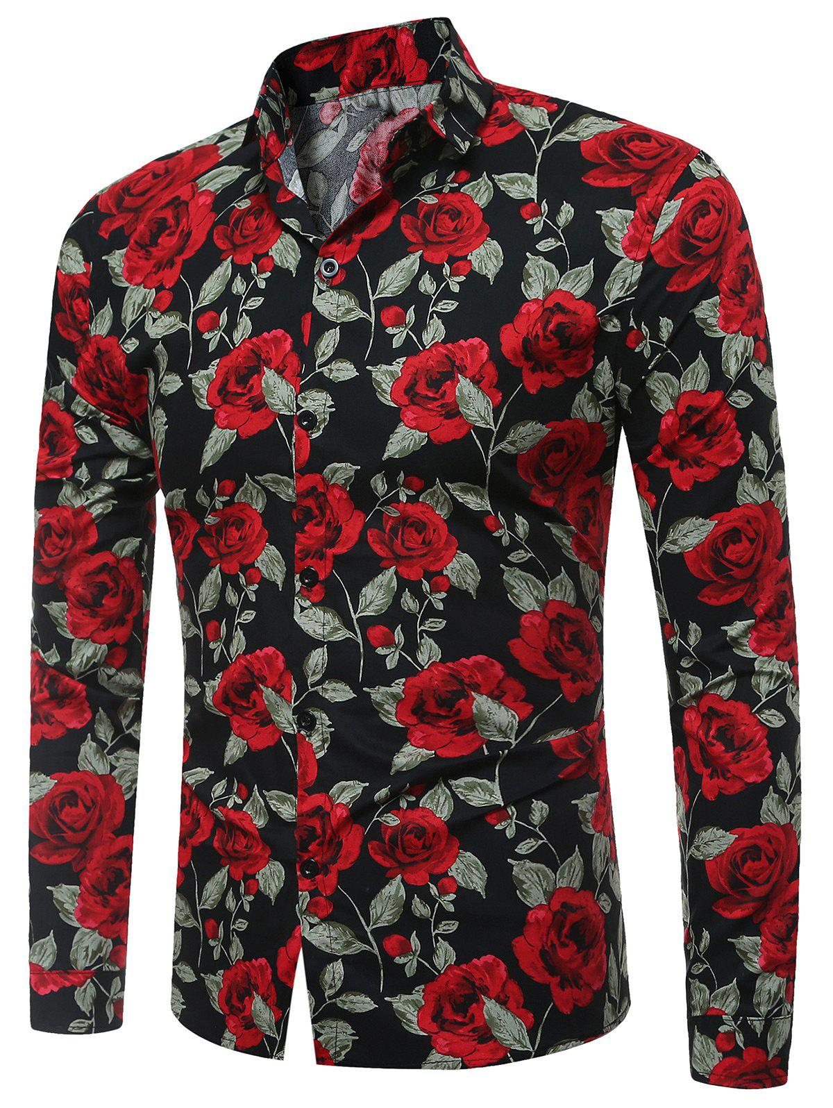 Long Sleeve 3D Roses Print Shirt - BLACK XL