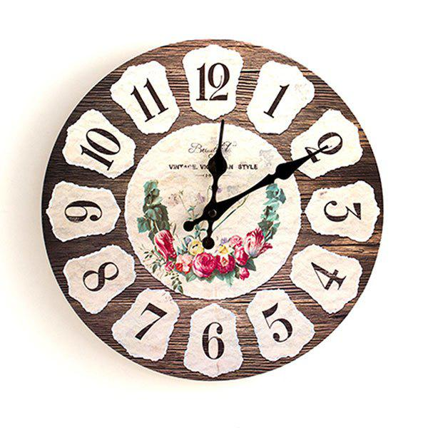 Floral Round Analog Wood Wall Clock - BROWN 50*50CM