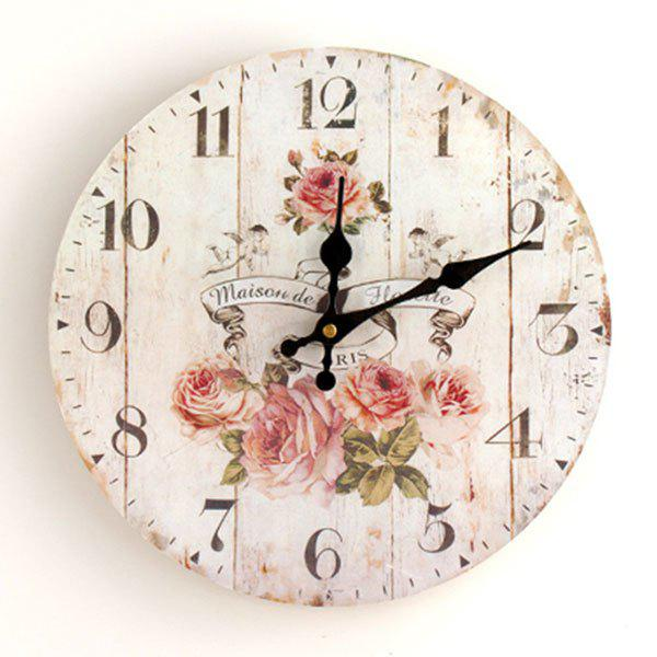 Floral Round Analog Wood Wall Clock - WHITE 50*50CM