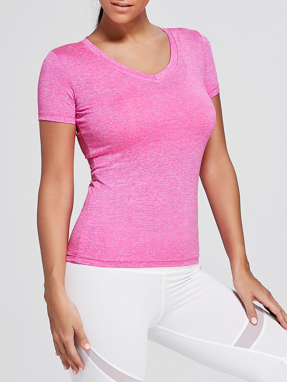Breathable V Neck Sports T-shirt - TUTTI FRUTTI 2XL