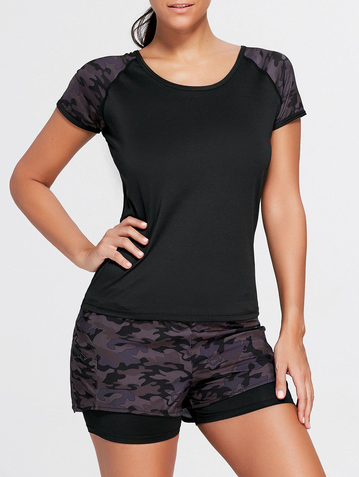 Camo Short Sleeve Sports Raglan Tee - BLACK 2XL