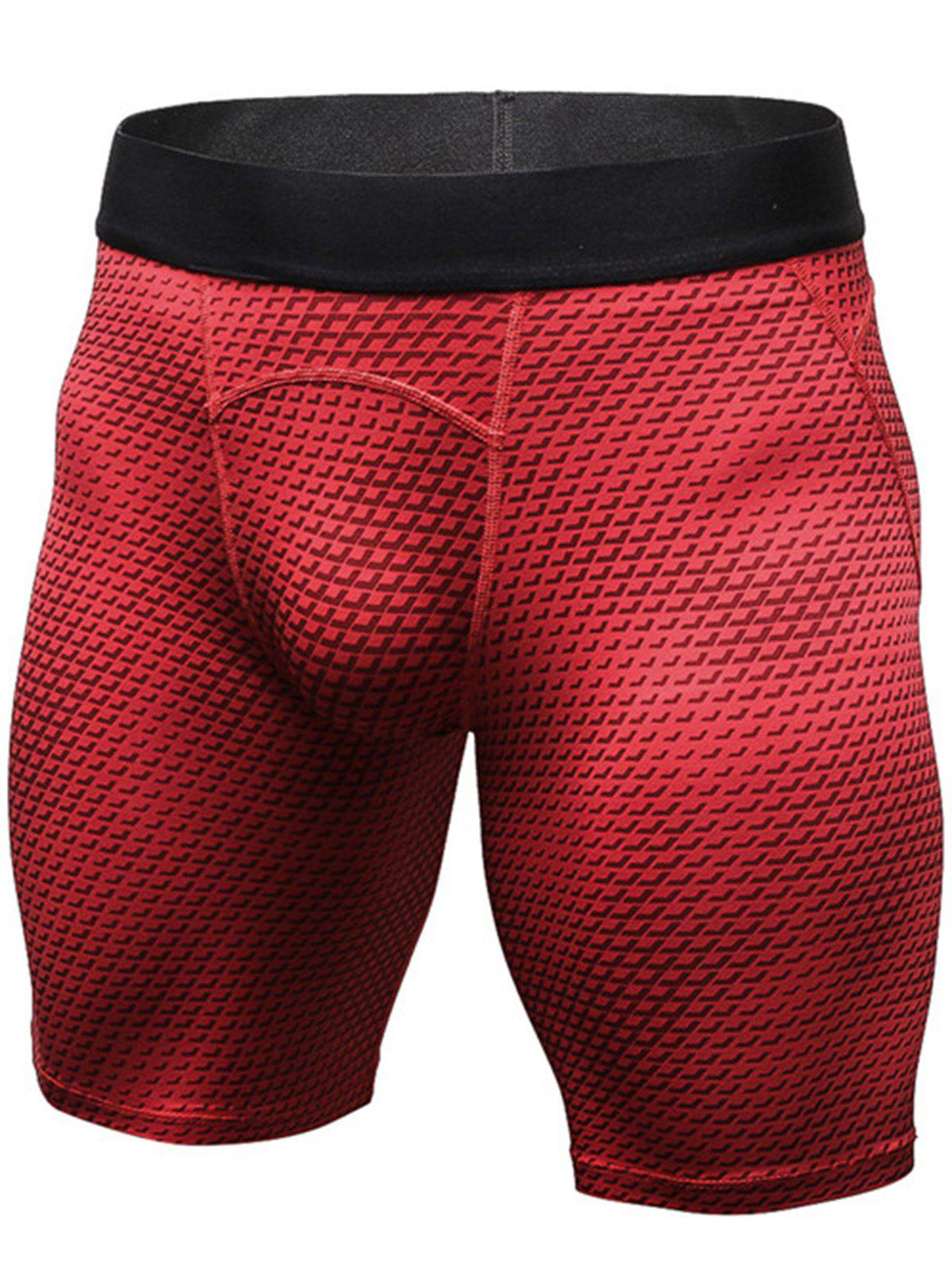 3D Geometric Print Fitted Quick Dry Gym Shorts - RED 2XL