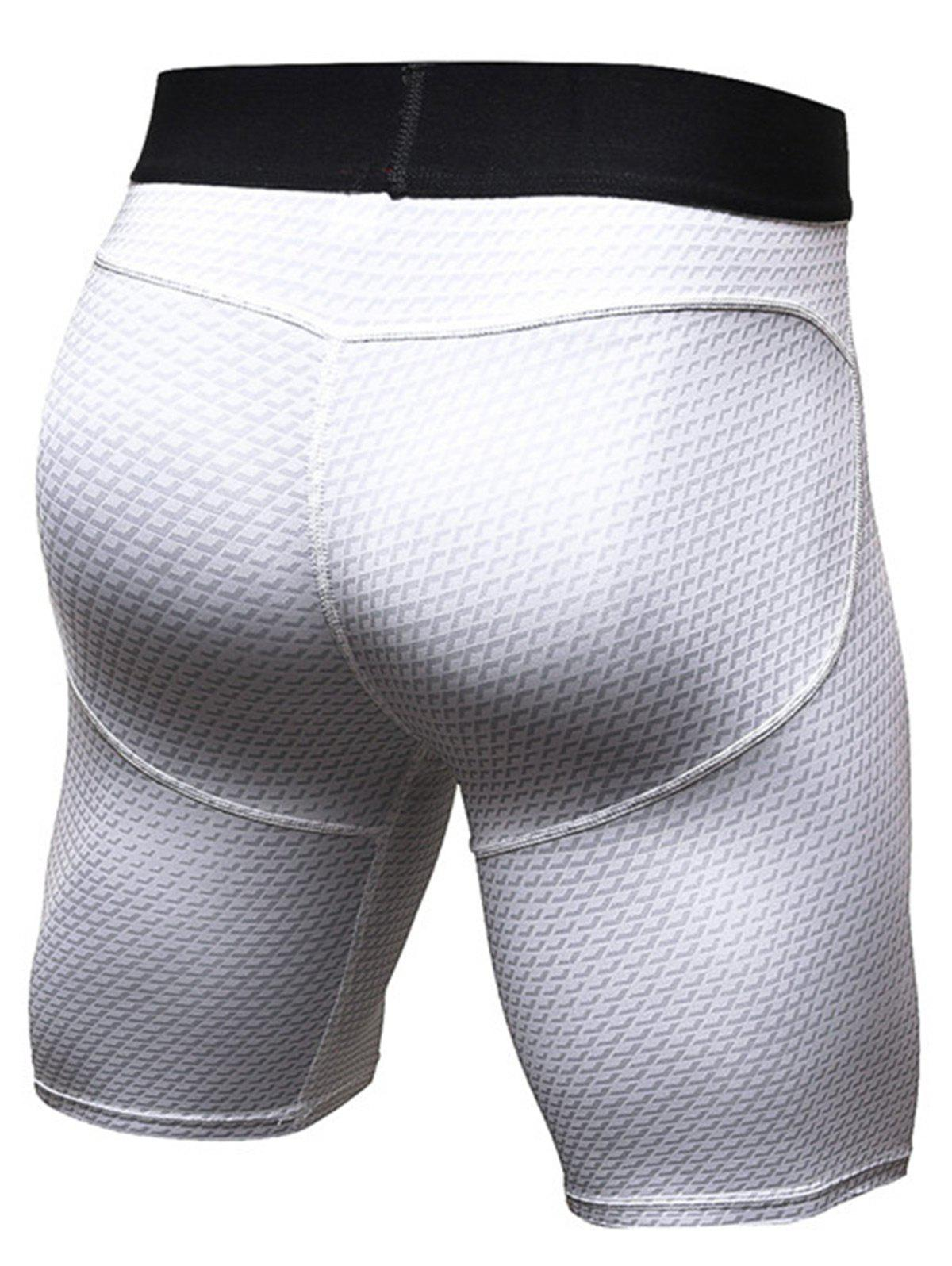 3D Geometric Print Fitted Quick Dry Gym Shorts - WHITE XL