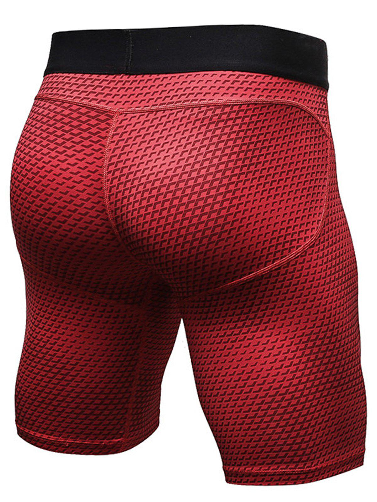 3D Geometric Print Fitted Quick Dry Gym Shorts - RED XL