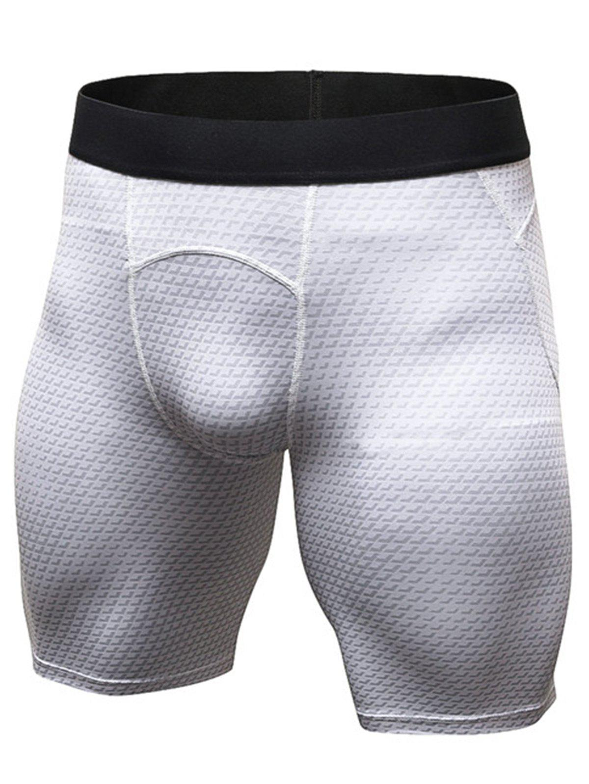 3D Geometric Print Fitted Quick Dry Gym Shorts - WHITE M