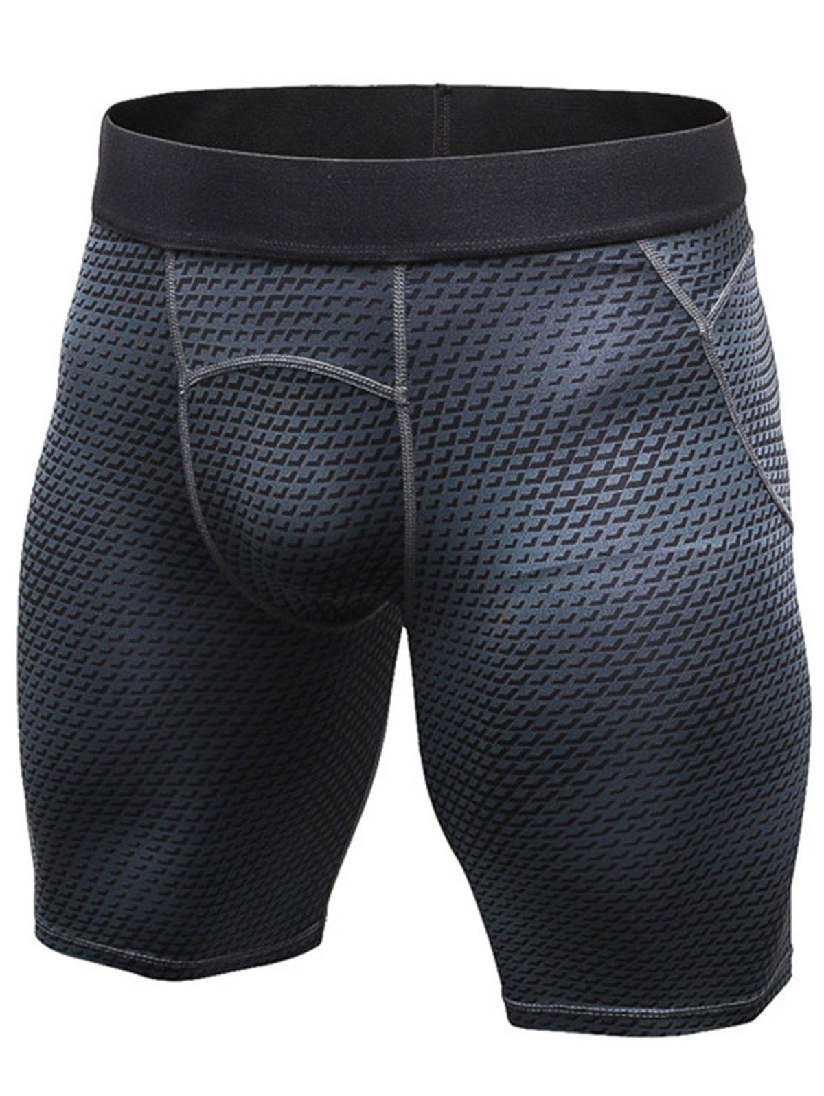 3D Geometric Print Fitted Quick Dry Gym Shorts - BLACK M
