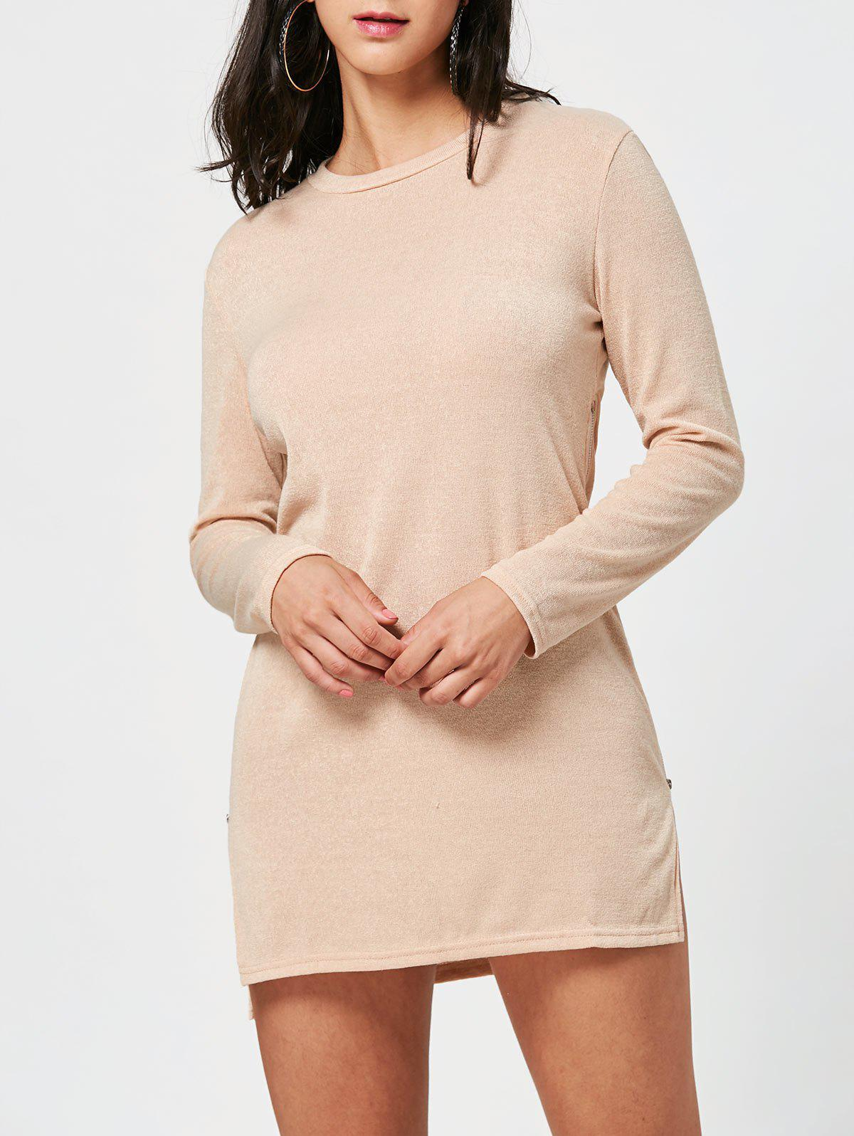Zipper Side Long Sleeve Shift Sweater Dress - APRICOT XL