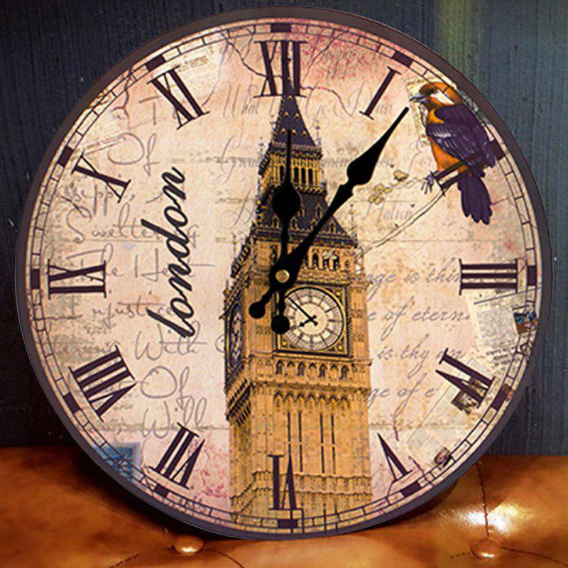 Big Ben Round Wood Analog Wall Clock - ANTIQUE BROWN 30*30CM