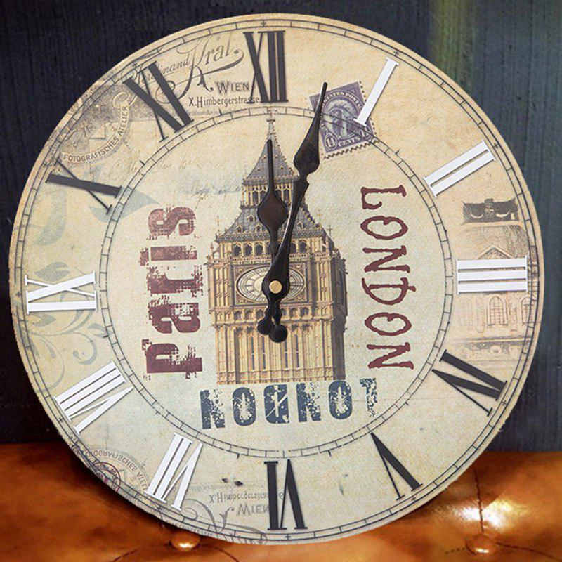 Big Ben Round Wood Analog Wall Clock - BEIGE 50*50CM