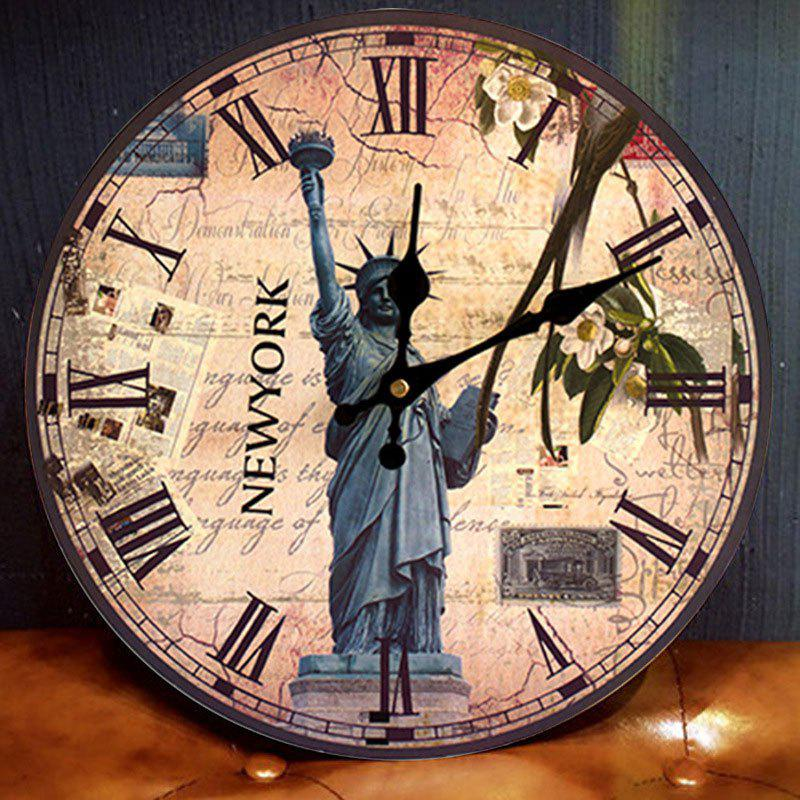 Statue of Liberty Wood Round Analog Wall Clock - ANTIQUE BROWN 50*50CM