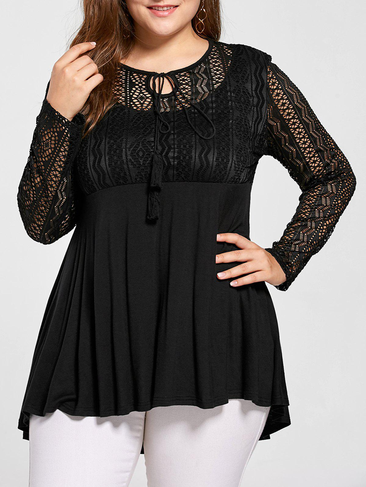 Plus Size Lace Panel Peplum Blouse sheer lace panel plus size leggings