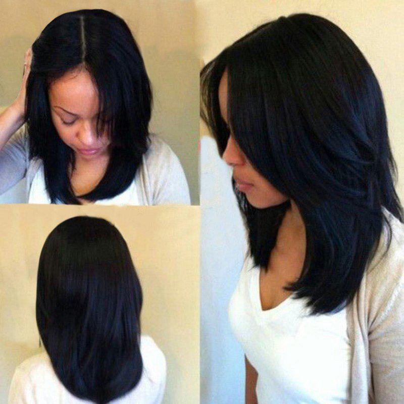 Long Center Part Natural Straight Synthetic Wig - BLACK