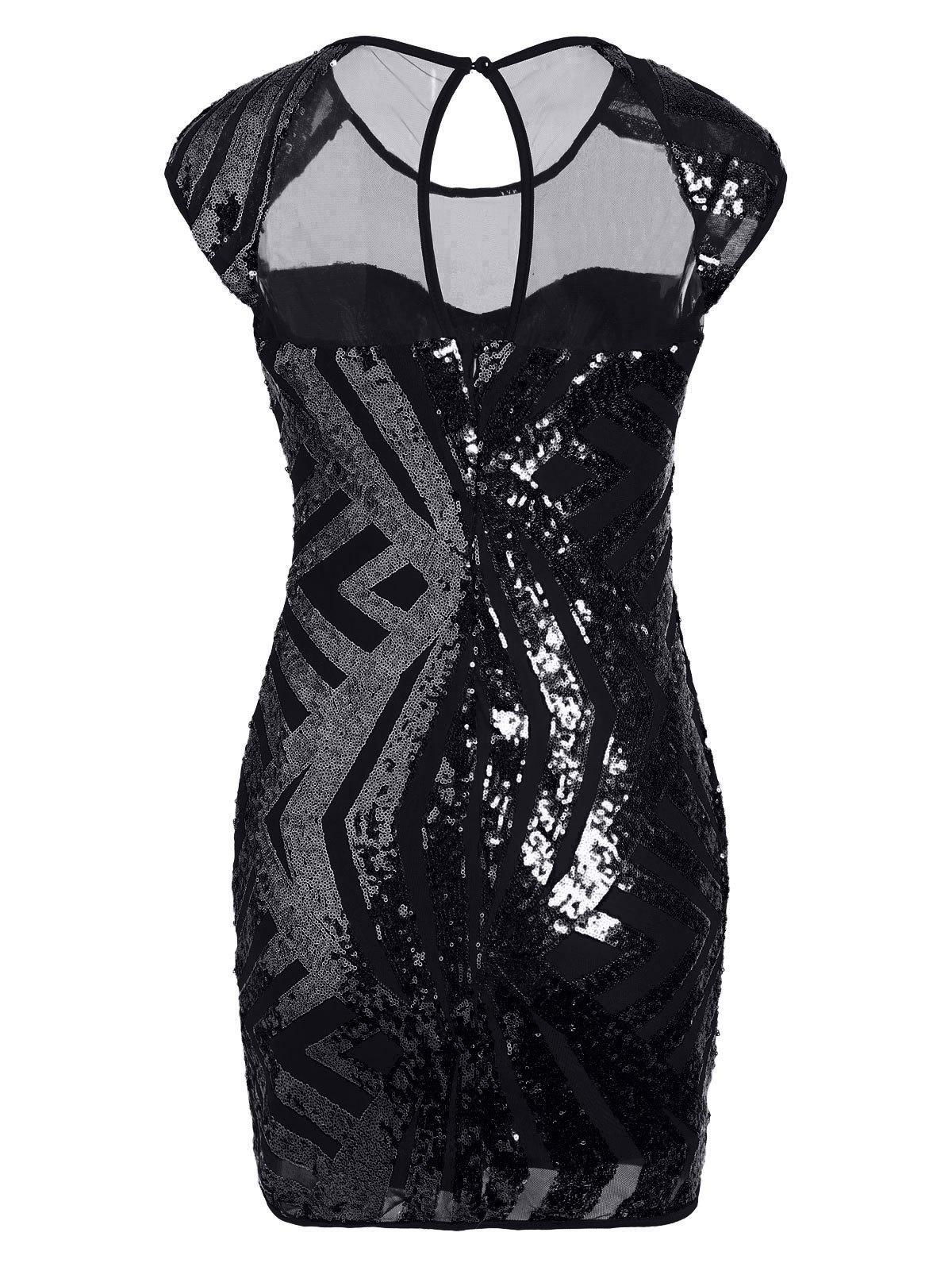 Mesh Insert Sequin Bodycon Club Dress - BLACK S