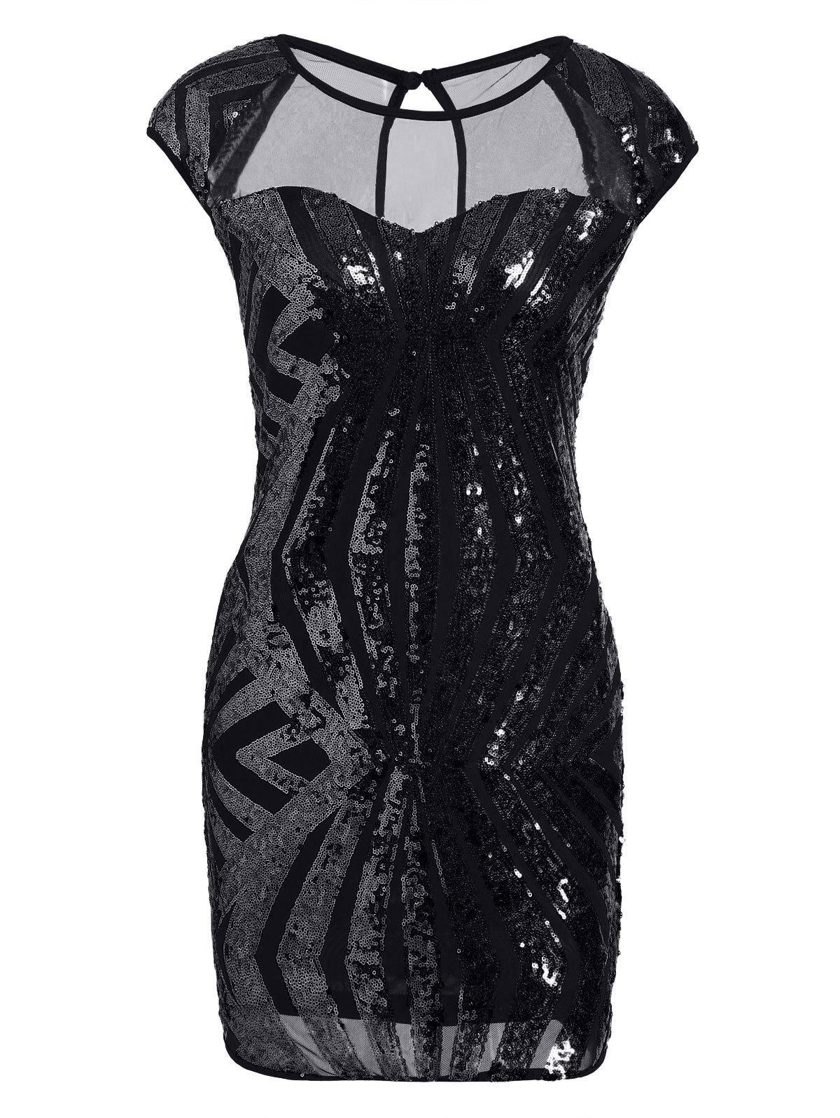 Maillot de poche Sequin Bodycon Club Dress - Noir S