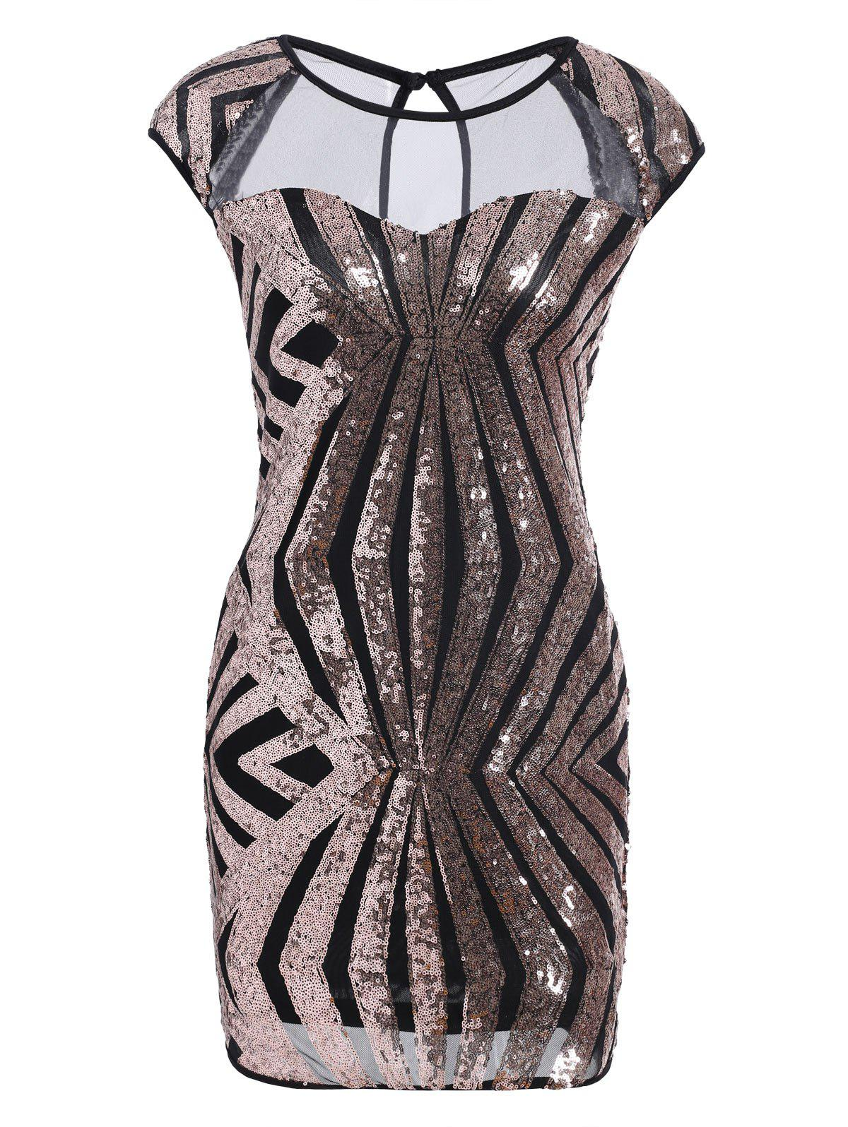 Mesh Insert Sequin Bodycon Club Dress - GOLDEN XL