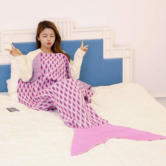 Peacock Pattern Knitted Sofa Bed Mermaid Blanket - PINK 180*90CM