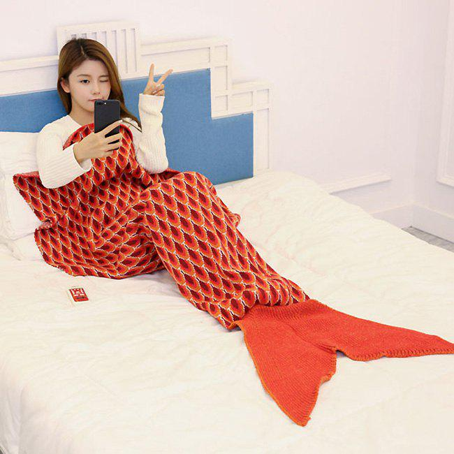 Peacock Pattern Knitted Sofa Bed Mermaid Blanket - ORANGE 180*90CM