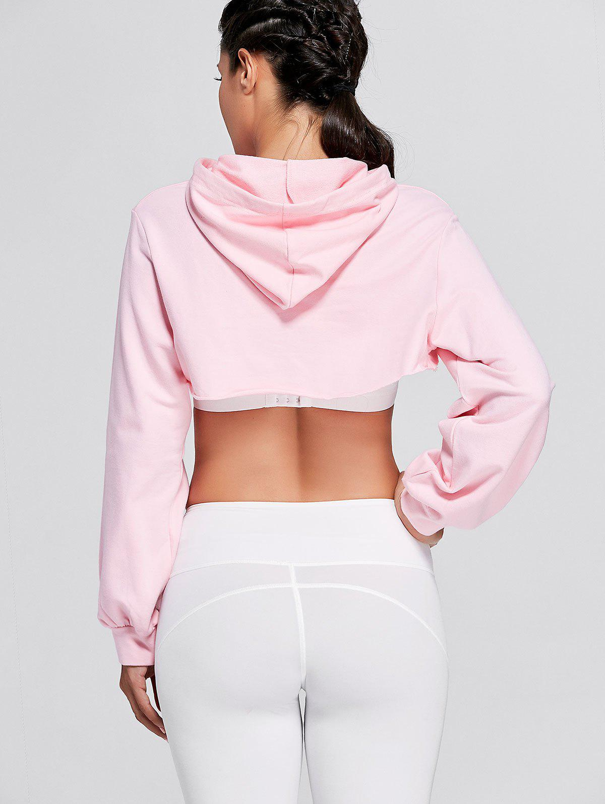 Sports Drop Shoulder Supper Crop Hoodie - PINK M