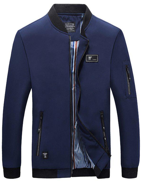 Casual Zipper Up Bomber Jacket - DEEP BLUE XL