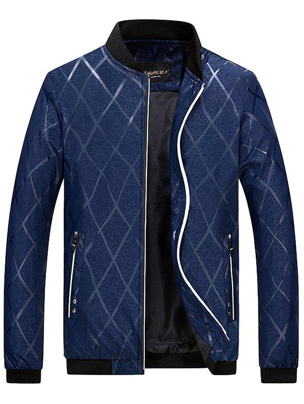 Zip Up Diamond Bomber Jacket - DEEP BLUE 2XL